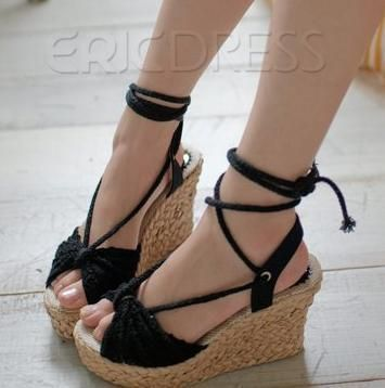 37.99 Black Bohemian Styles Cloth Upper Wedge Heels Girls Sandals ...