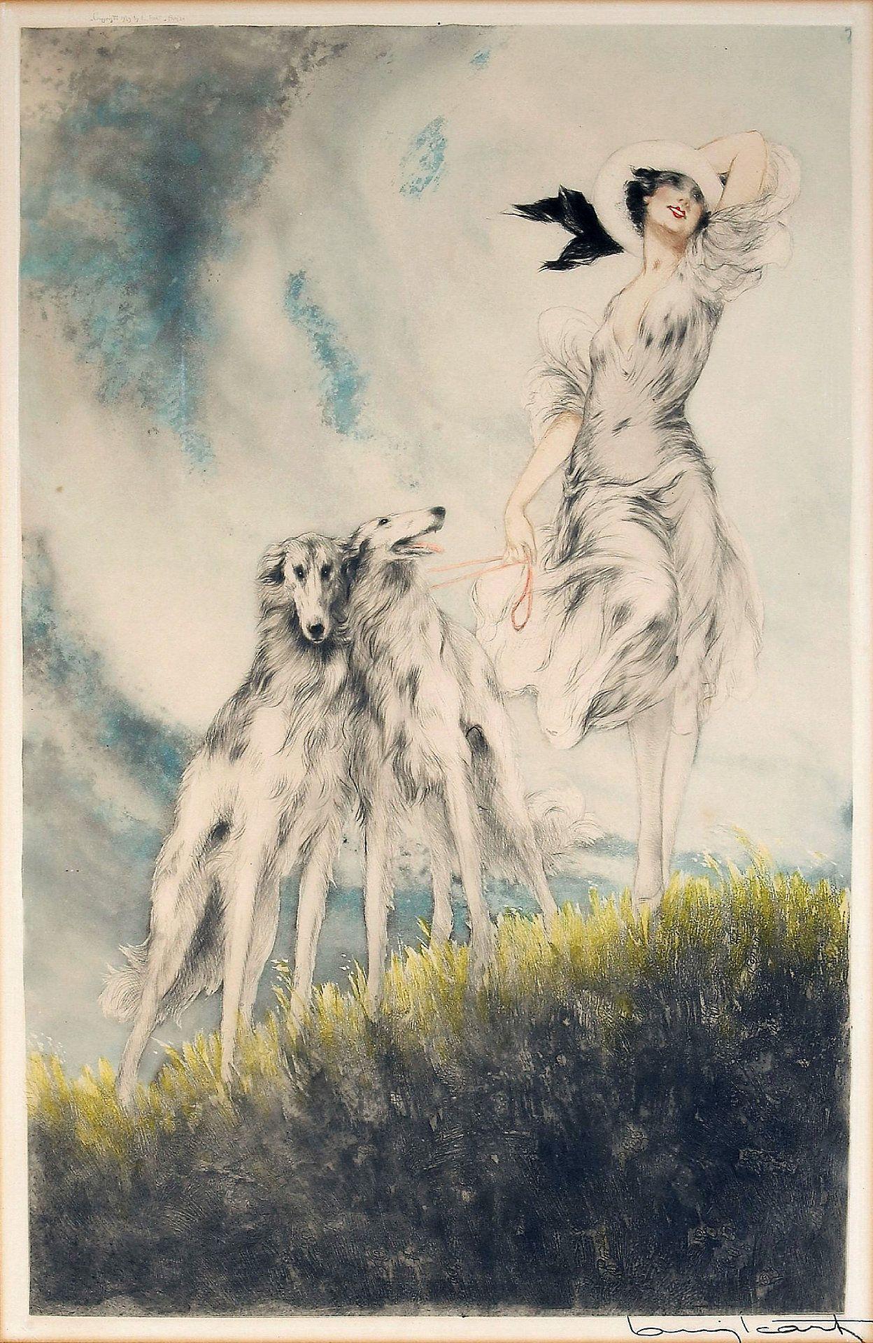 I love Borzoi dogs in art.   Louis Icart 'Joy Of Life' 1929