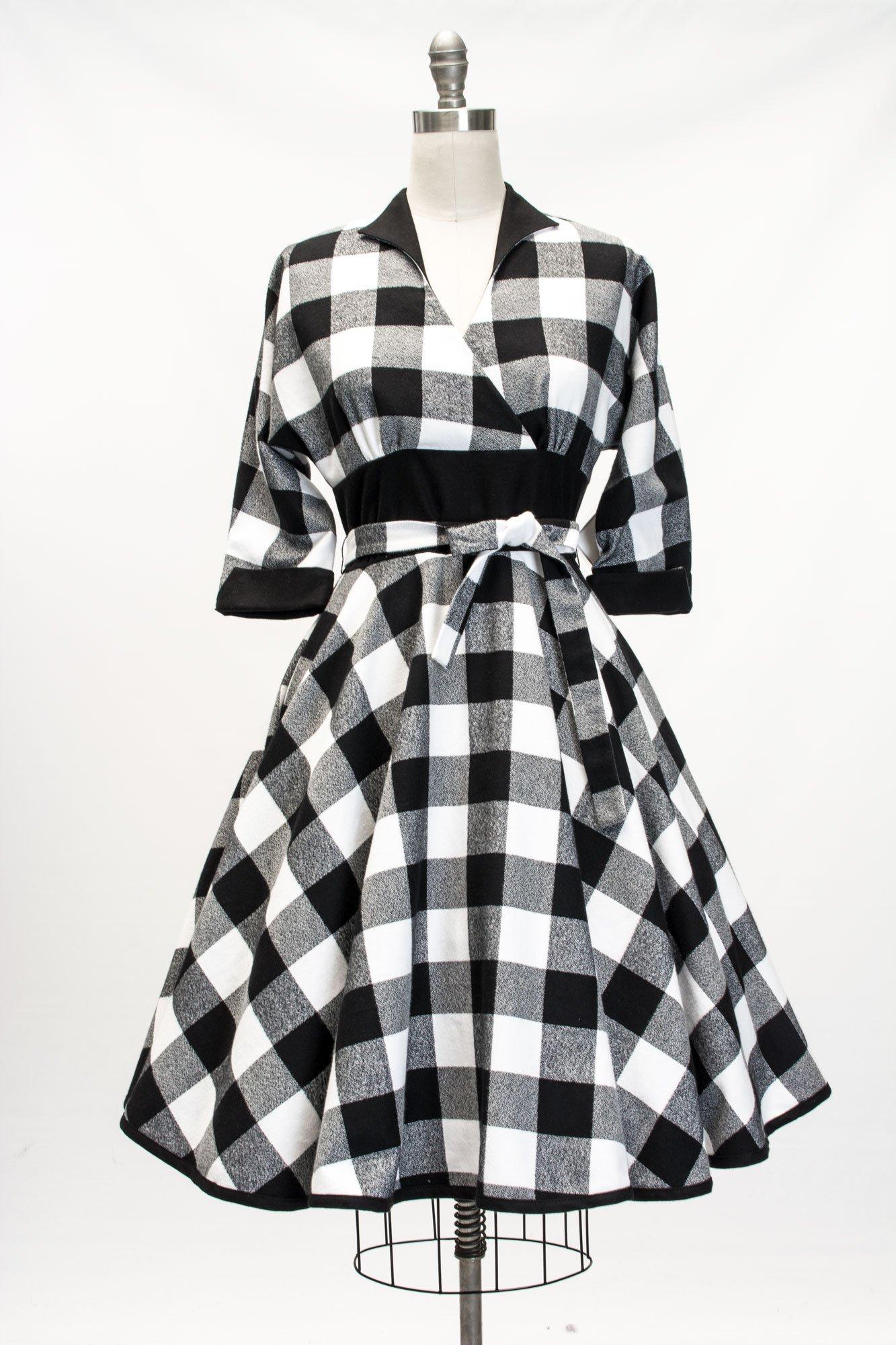 Kimmie Dress Black White Checkered Flannel Flannel Dress Dresses Full Circle Skirts
