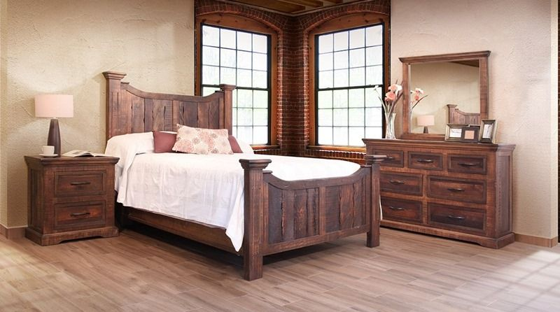 Madeira Rustic Solid Wood Bedroom Set Hand Distressed And