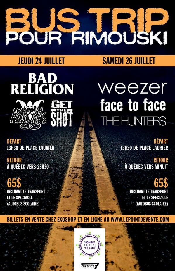 Fans de Bad Religion et de Weezer de Québec, venez les voir à Rimouski avec le Bus Trip!