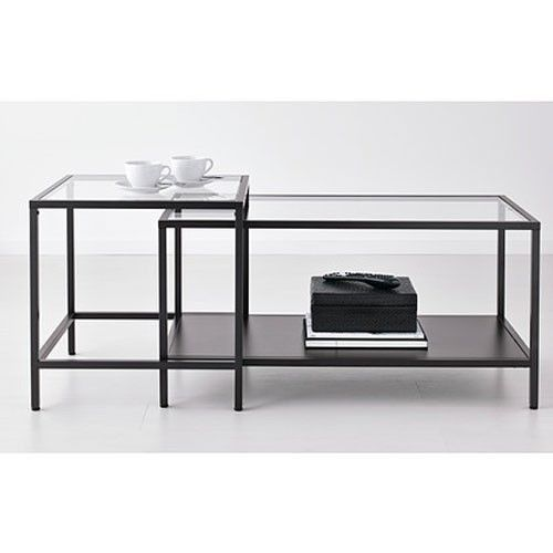 Nesting Coffee and Side Table Set Glass Metal Black-Brown Ikea Vittsjo Brand New #IKEA