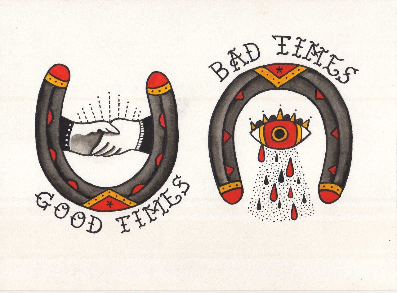 Good Times, Bad Times. Acrylic Ink And Copic Markers On