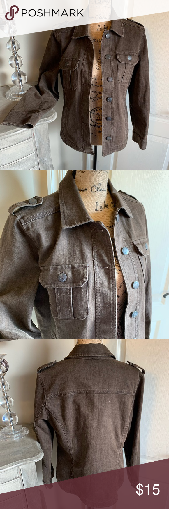Brown Jean Jacket Like New Brown Jean Jacket Underarm To Underarm Across The Back 21 Underarm To Wrist 17 5 Neck To Brown Jean Jacket Brown Jeans Jean Jacket [ png ]