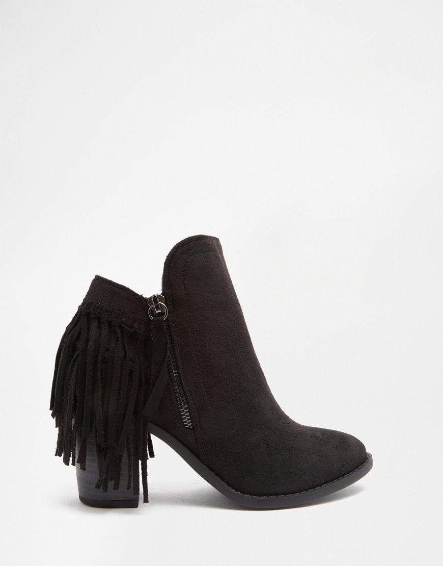 Image 2 - Glamorous - Bottes western à franges - Noir