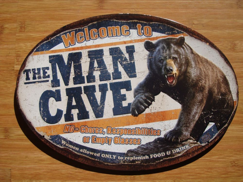 Hunters Man Cave Signs : Welcome to the man cave black bear cabin hunting lodge home decor