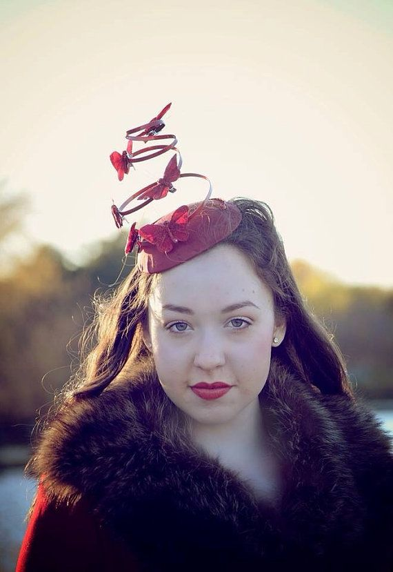 Scarlet Red Butterfly Fascinator by Ruby  by RubyandCordelias, $90.00