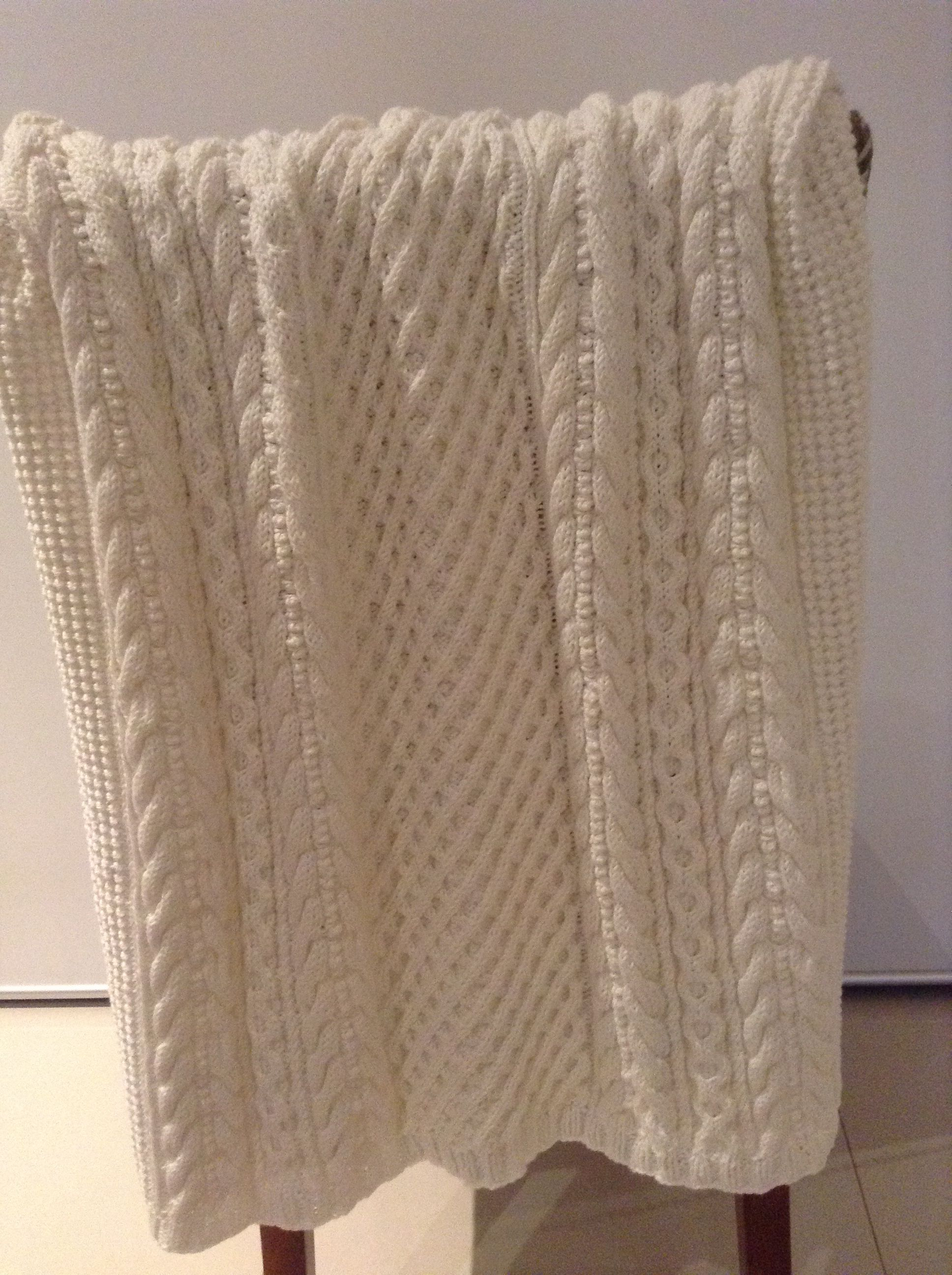 Knitting Pattern Cotton Blanket : Baby Cabled Blanket. Pattern from Patons Natural Baby, knitted in Patons Cott...