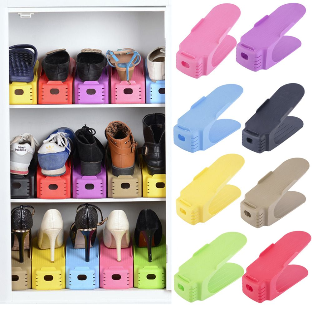 Home Use Plastic Shoe Storage Holder Modern Double Cleaning Save Space Shoes Organizer Rack Living Room Convenient Stand Shelf Home Storage & Organization