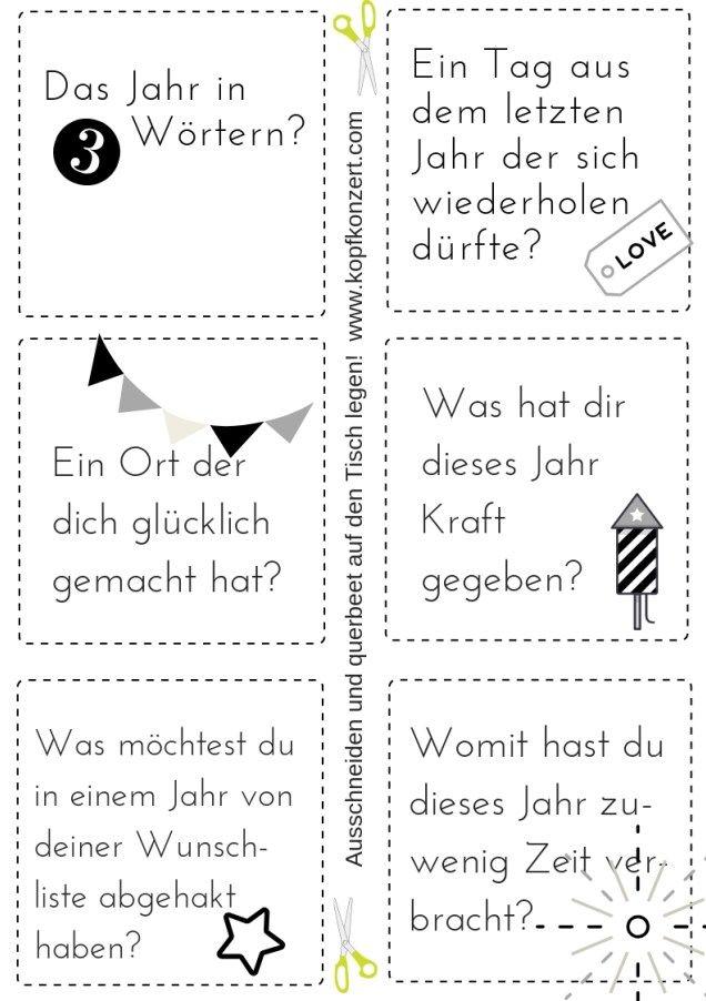 Silvester-Partyspiel, Tischdeko, Silvester & Freunde, Fragen für Silvester