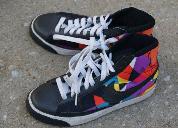 wholesale dealer 02063 58c2a Vintage Rainbow Colored Nike High Tops US 6 Euro by hipandvintage,  23.00