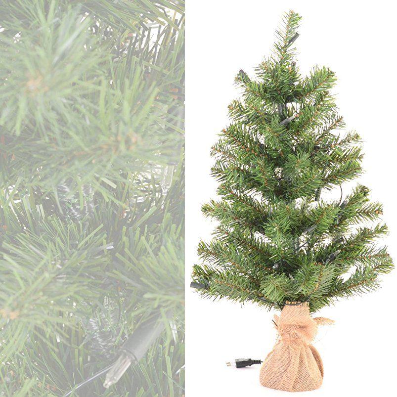Weihnachtsbaum Künstlich Beleuchtet.Kleiner Künstlicher Weihnachtsbaum Grün Jutesack Natur 60 Cm Hoch