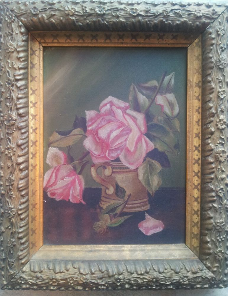 Antique 19thC Victorian  Rose Oil Still Life Painting Orig. Ornate Floral Frame