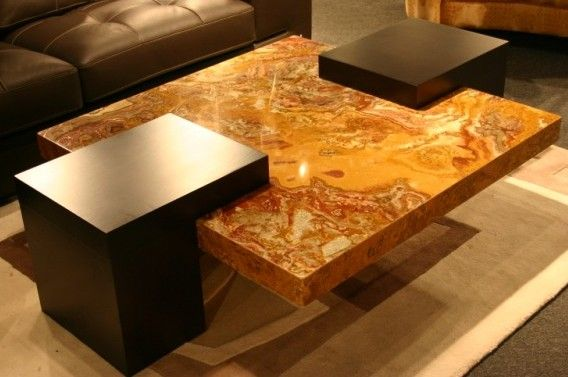 Red Onyx Cocktail Table Contemporary Glass Coffee Tables Center Table Coffee Table Wood
