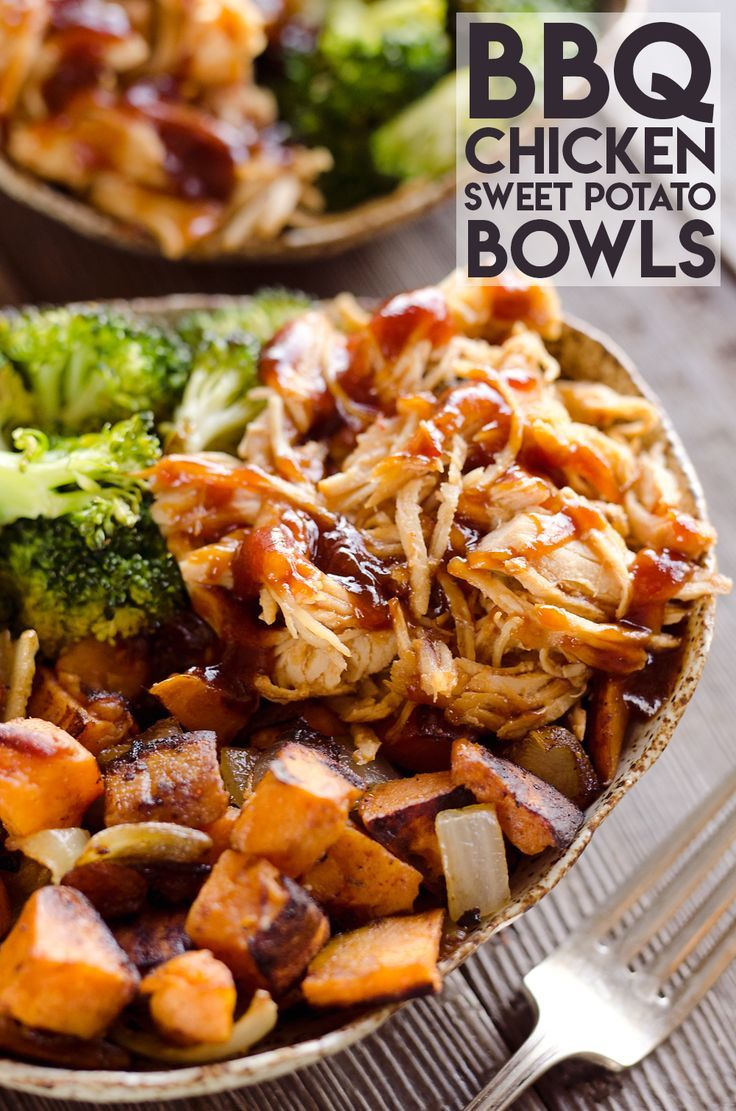 BBQ Chicken & Roasted Sweet Potato Bowls are a hearty and healthy dinner recipe bursting with bold flavors and nutritious vegetables. This easy sheet pan dinner is perfect for meal prepping lunches for work or a quick weeknight meal. #healthyweeknightmeals
