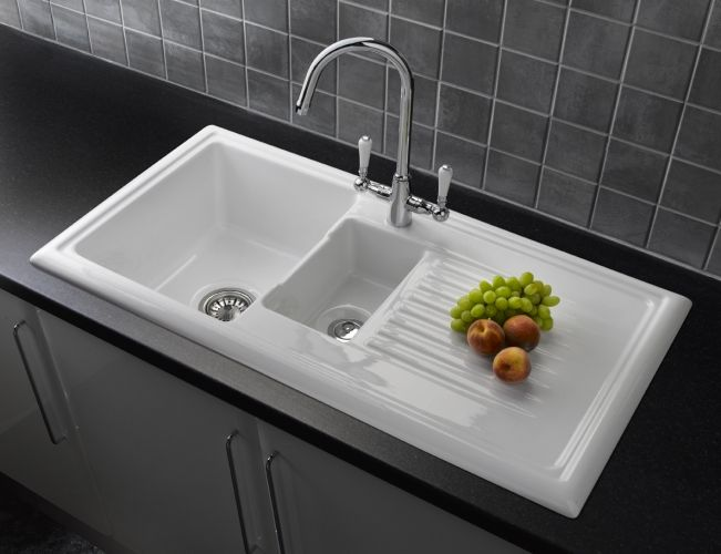 Reginox Rl301cw 1 5 Bowl Ceramic Kitchen Sink White In 2020