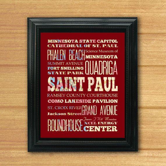 Saint Paul Minnesota Typography Art Poster/ Bus by LegacyHouseArt, $19.95