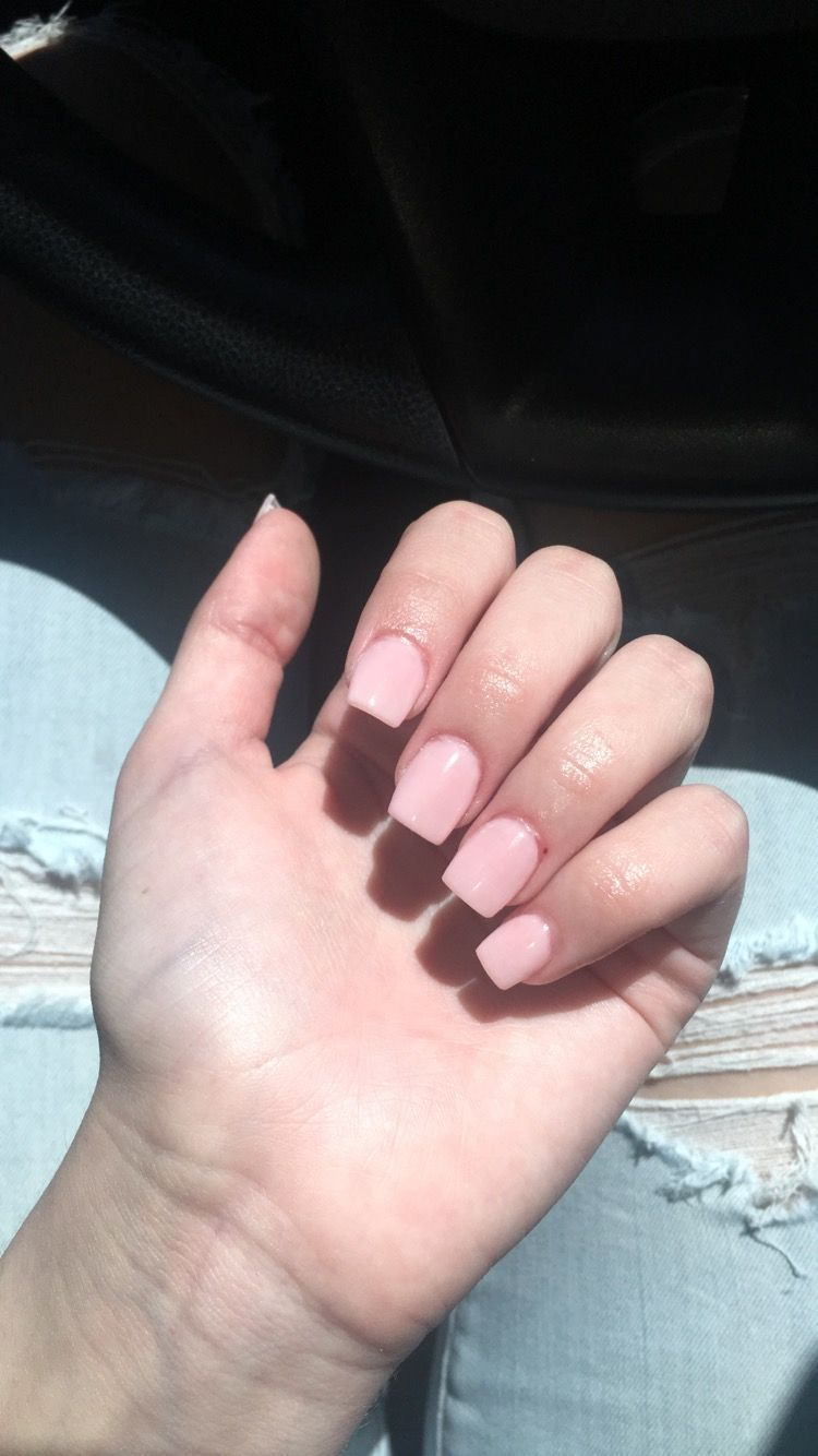 Light pink, gel, acrylic nails, coffin #pinknails | Nails ...