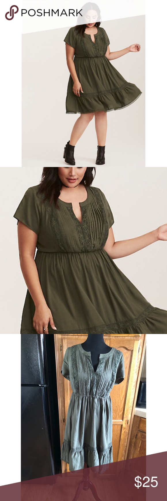 c06758207c Torrid Olive Green Challis Lace Dress Size 0 (0X) Torrid challis dress with lace  inset. Olive green color. Short sleeves. Size 0 (0X). Dress is 39 inches ...