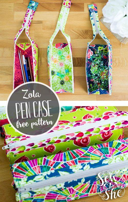 Zola Pen Case {free sewing pattern} | Pinterest | Pen case, Sewing ...