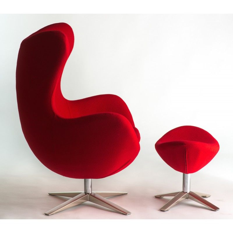 Awesome Red Wool Fabric Egg Chair Replica + Ottoman