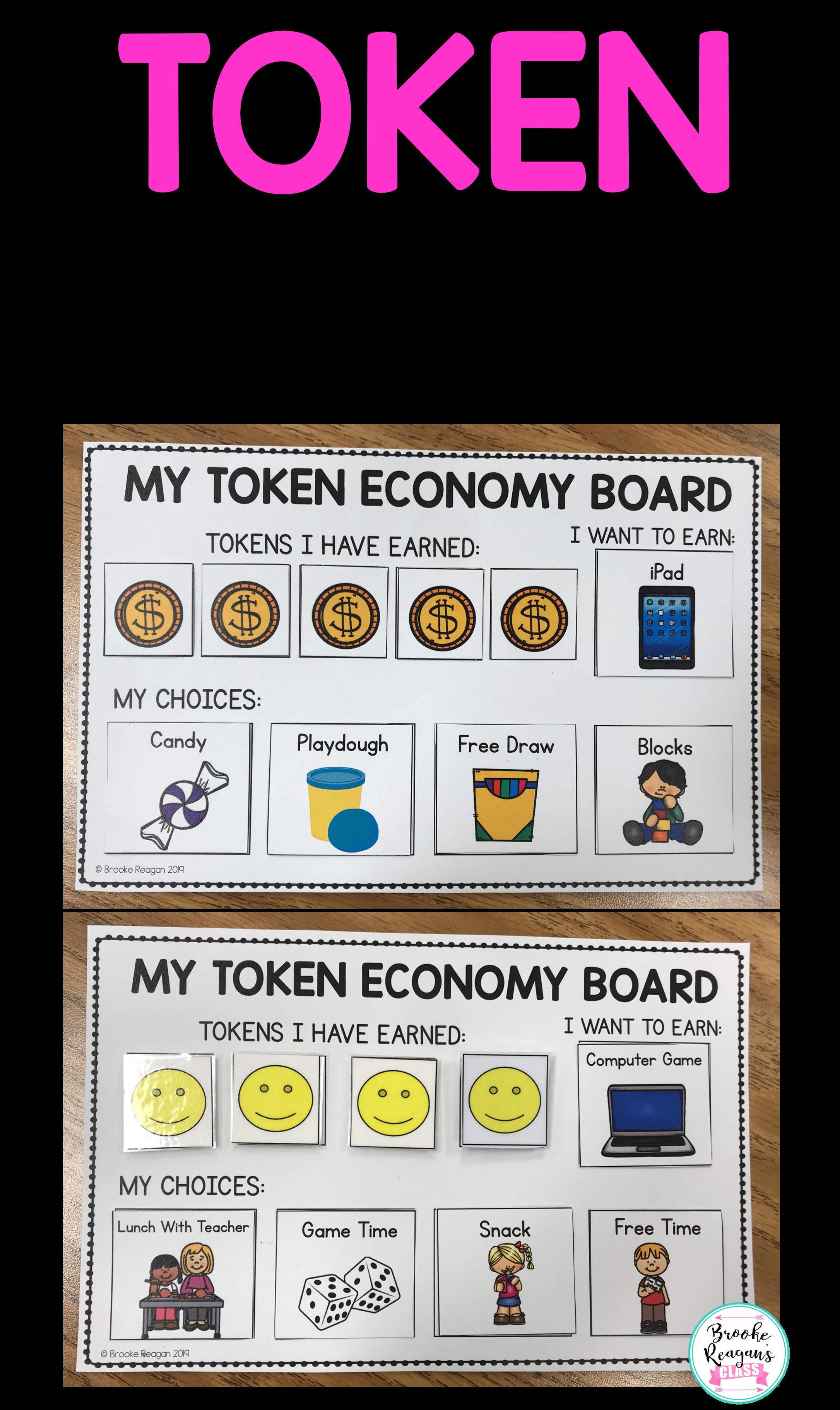 Token Economy For Behavior Intervention Positive Reinforcement Visuals Token Economy Behavior Interventions Behavior Rewards