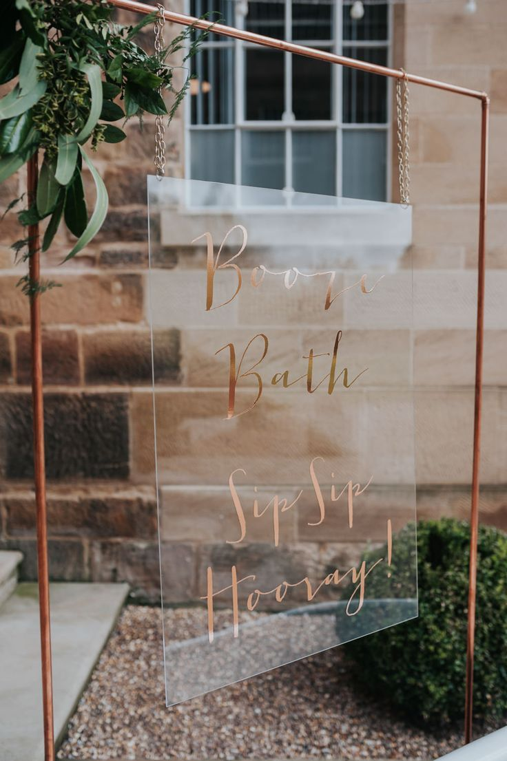 Pink Roll Top Booze Bath and Copper & Perspex Wedding