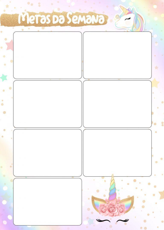 Planner unicornio 2019 metas da semana para imprimir for Planner casa gratis