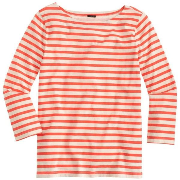 J.Crew Striped Boatneck T-Shirt ($39) ❤ liked on Polyvore featuring tops, t-shirts, stripes, striped boatneck tee, striped tee, pink t shirt, stripe t shirt and stripe boatneck tee
