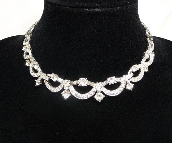 Boucher Rhinestone Necklace - Clear Rhinestones - Designer Signed Jewellery - Vintage 1950's 1960's