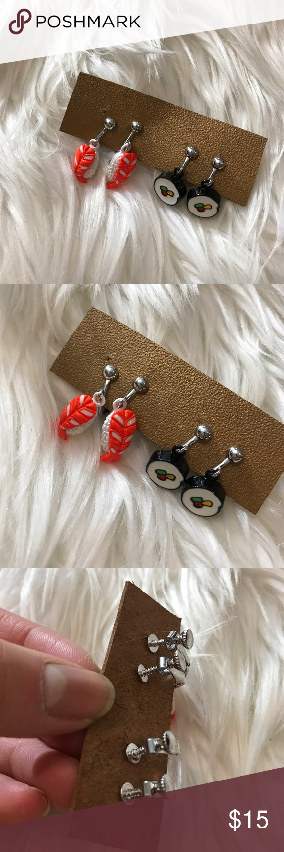 ✨FINAL✨ Set of 2 Sushi Clip On Earrings NEW / sushi earrings / clip on / tagged asos for exposure ASOS Jewelry Earrings