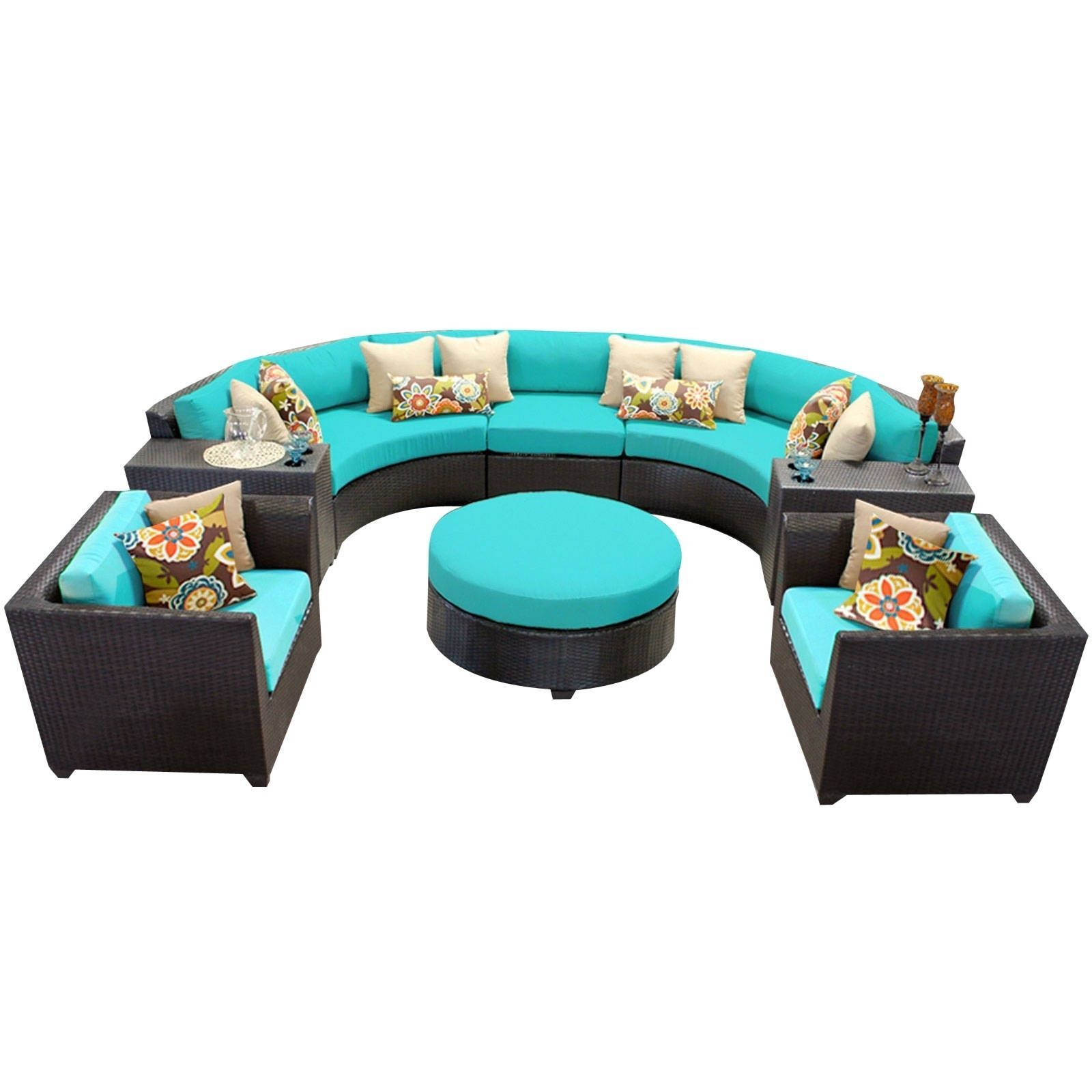 Meridian 8 Piece Outdoor Patio Rounded Wicker Sectional with Arm