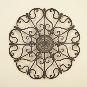 This 29 Round 3 D Wrought Iron Wall Plaque Is Peaked With Pal
