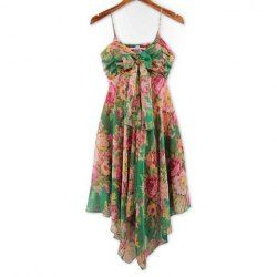 Refreshing Spaghetti Strap Colorful Tiny Floral Print Bowknot Embellished Chiffon Dress For Women