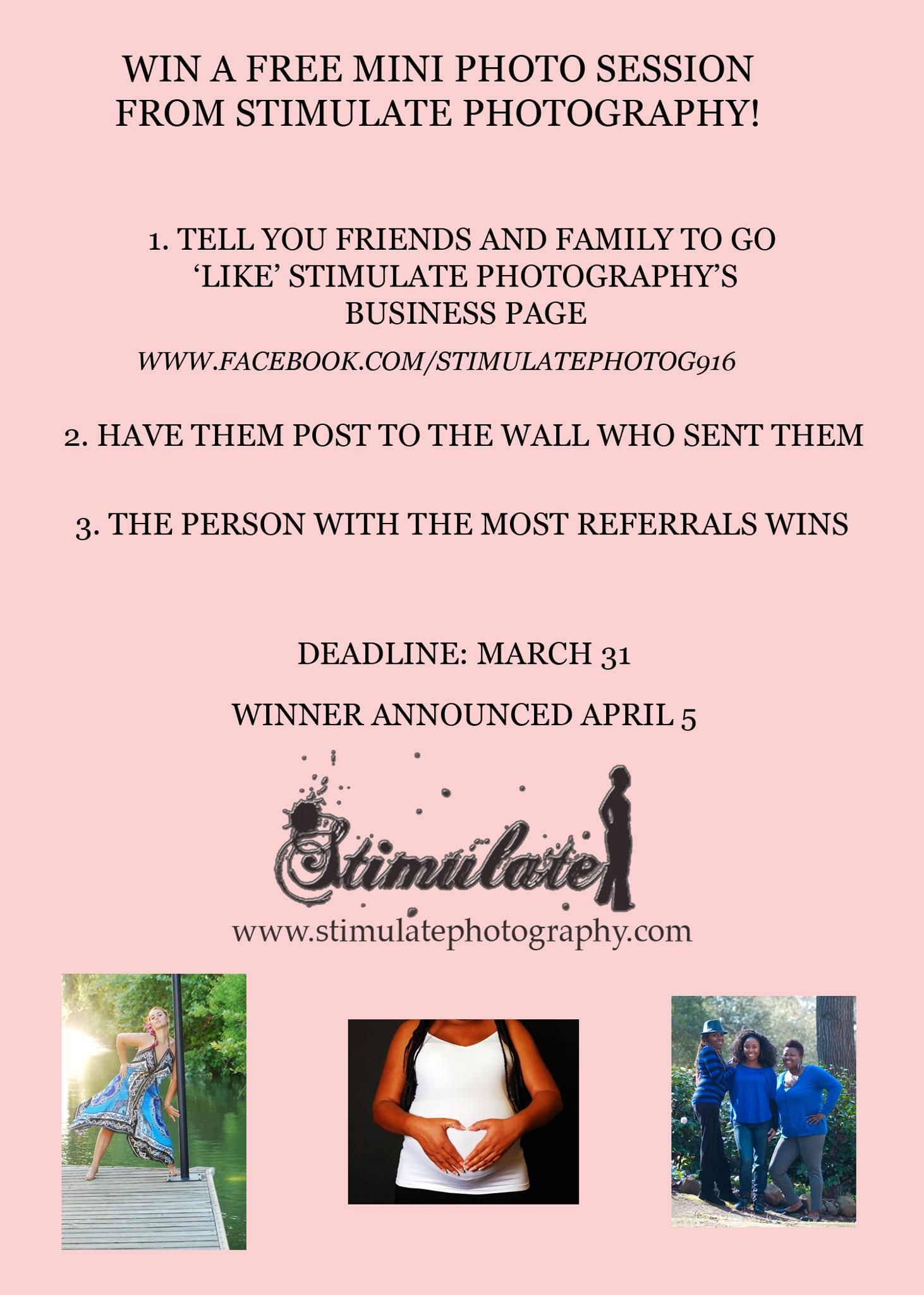 Refer your friends and family and win a free mini photo session!