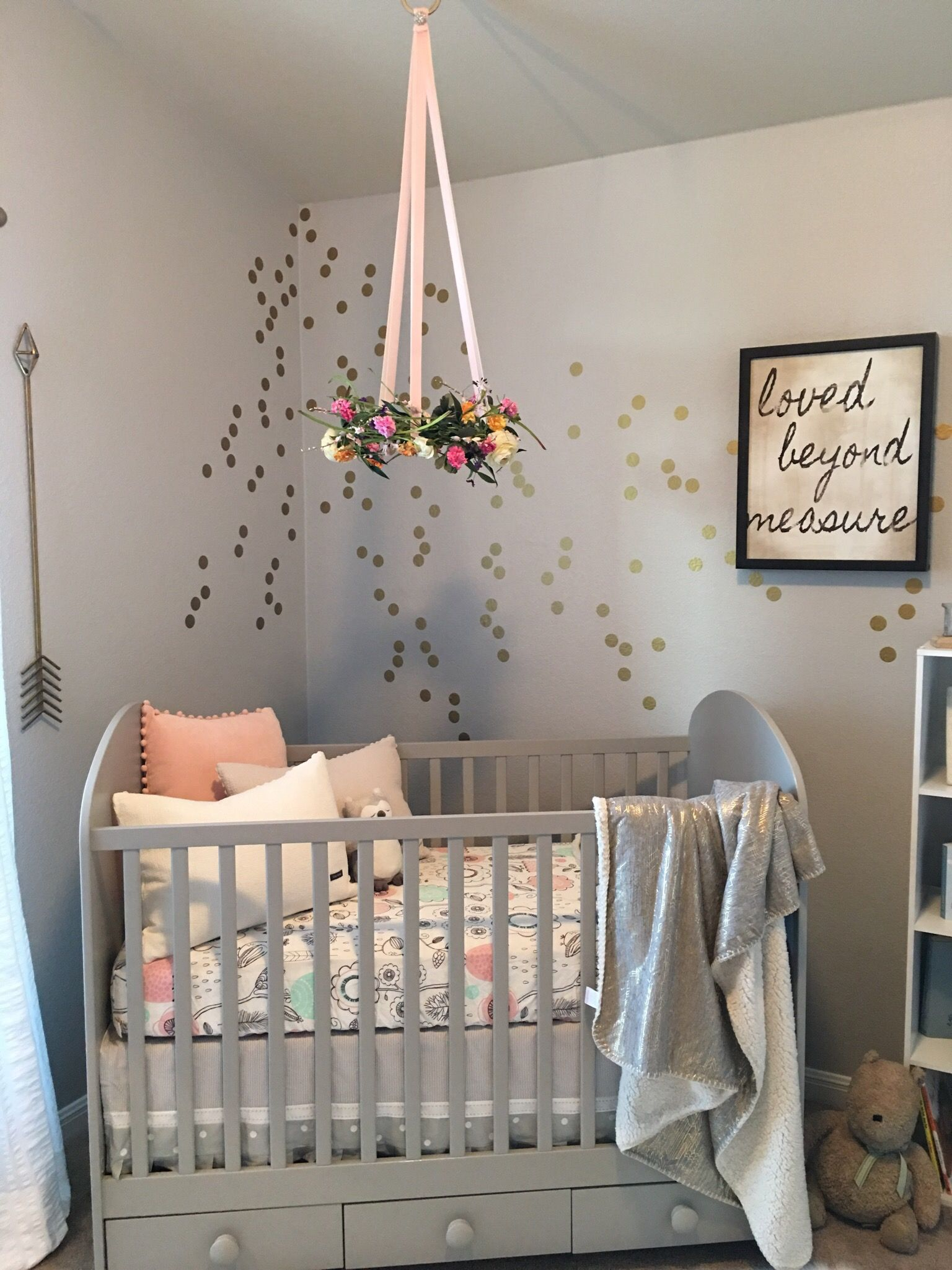 Nursery trend floral wreath mobiles floral wreath and for Baby girl crib decoration ideas