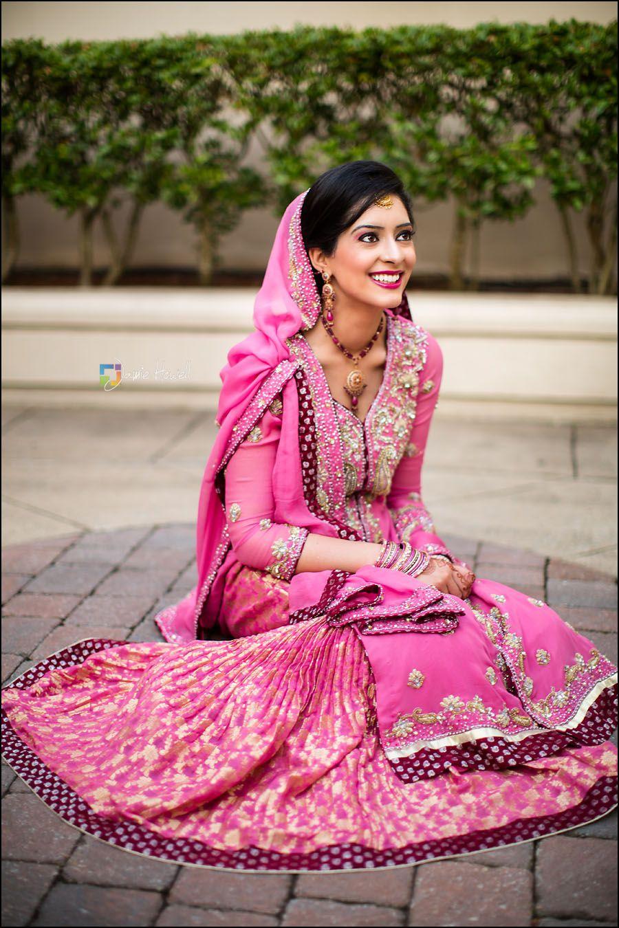 A Pakistani Bride In Long Kameez And Printed Lehenga Looks Beautiful For Her Big Day Muslimbride Pakistanibride Via Jamie Howell Photography