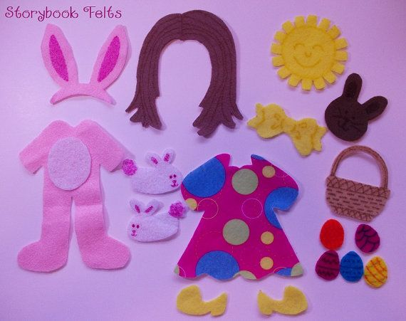 Storybook Felts Felt My Little Easter Girl Doll Dress Up Clothing Set 16 PCS Paper Doll Cloths via Etsy