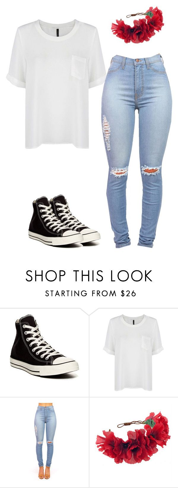 """""""Untitled #2"""" by its-kcp ❤ liked on Polyvore featuring Converse, MANGO and Rock 'N Rose"""