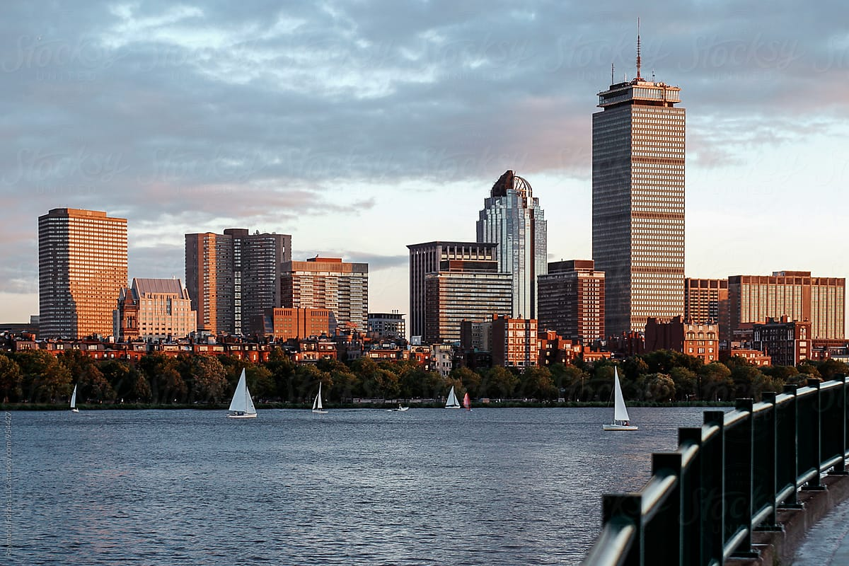 Boston Skyline At Charles River Stocksy United By Raymond Forbes Photography Stockphoto Stockphotography Boston Ch Boston Skyline Skyline Boston Pictures