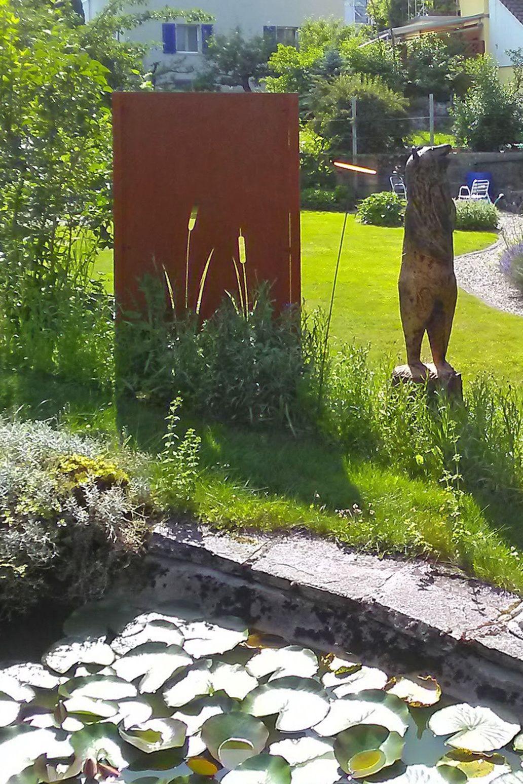 Sichtschutzwand Mit Schilfmotiv Muro Sichtschutz Sichtschutzwand Cortenstahl Corten Handwerk Kunsthandwerk Taaro Sichtschutzwande Wande Solothurn