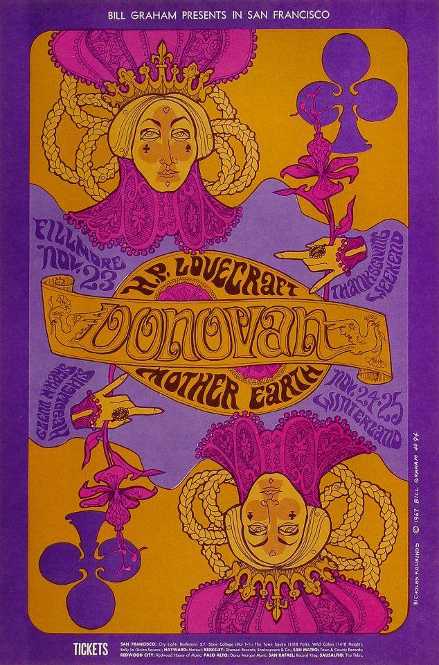 Donovan Vintage Concert Poster from Fillmore Auditorium, Nov