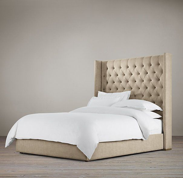 details about tall wingback headboard bed frame chesterfield style creambrown double kingsize