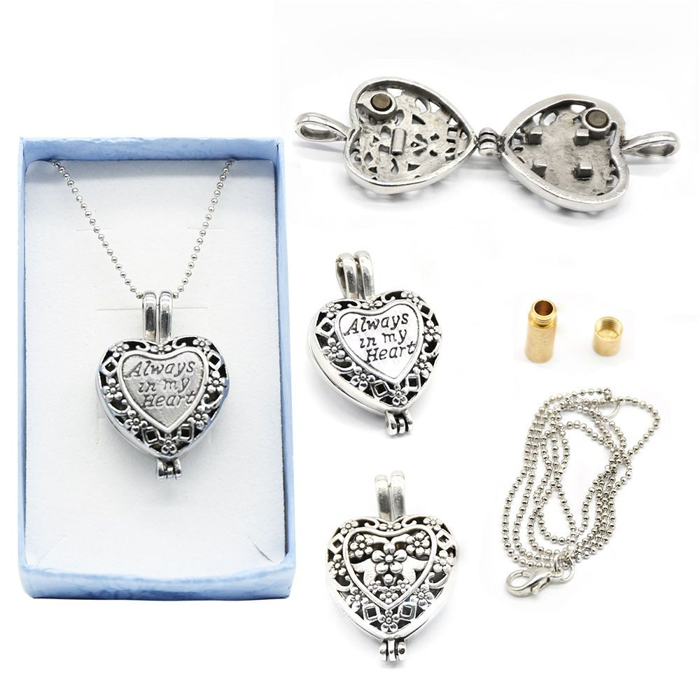 Cremation Lockets Crystal Heart Filled Vase Shape Pendant Ashes Urn Jewelry