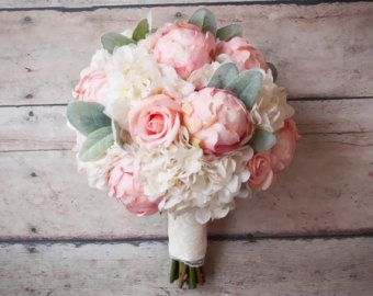 Shabby Chic Wedding Bouquet   Peony Rose And Hydrangea Ivory And Blush  Wedding Bouquet With Burlap Wrap