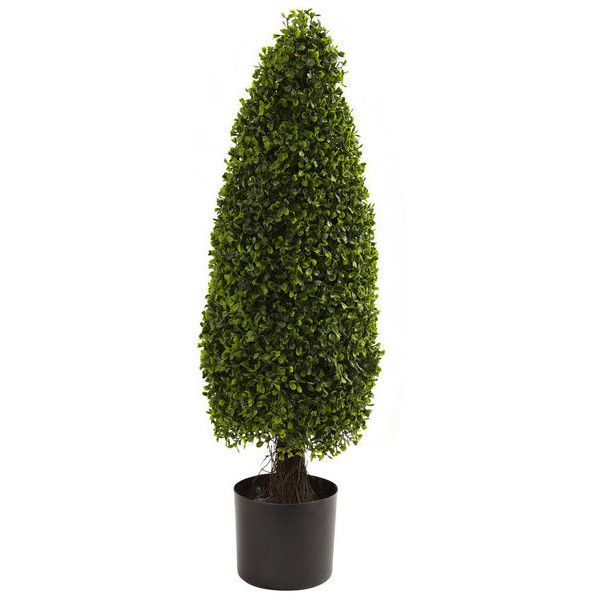 Nearly Natural 3-foot Boxwood Topiary UV-resistant Indoor/ Outdoor... ($82) ❤ liked on Polyvore featuring home, outdoors, outdoor decor, nearly natural and boxwood topiary