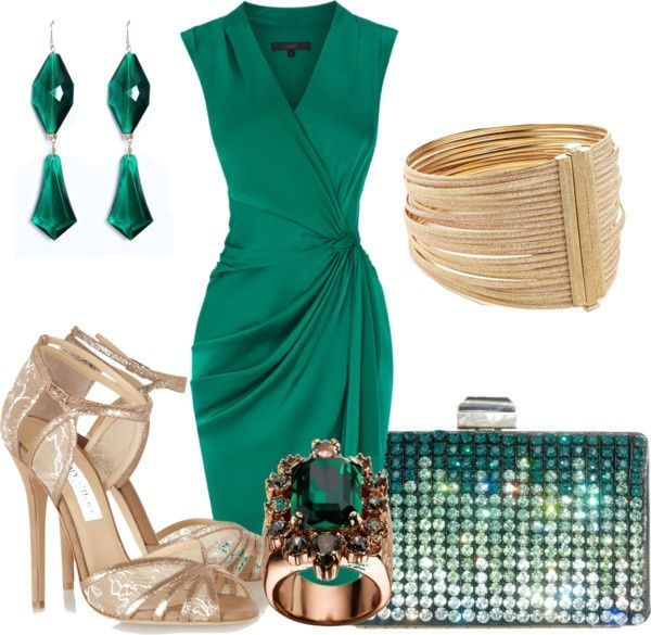 4ac4ab4df85 LOLO Moda  Night fashion for women. Emerald green dress with gold  accessories. Perfect!!