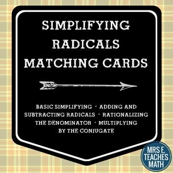 Radicals Card Sort | rationalizing and conjugates included
