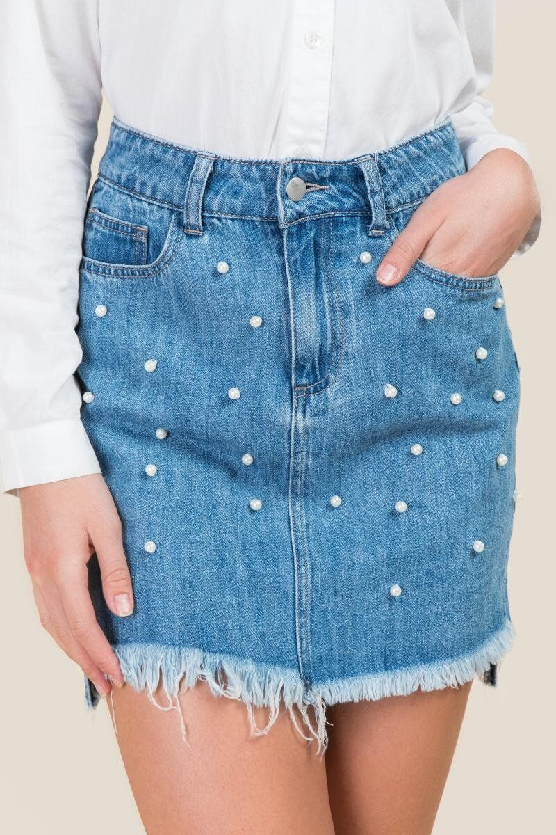 63c3695d2cb2b Ginny Pearl Step Hem Denim Skirt