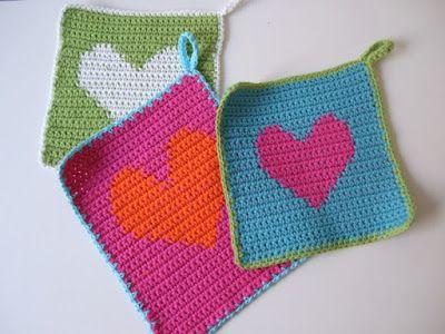 Herz Topflappen Crochet Ava قلاب بافی گوناگون Pinterest